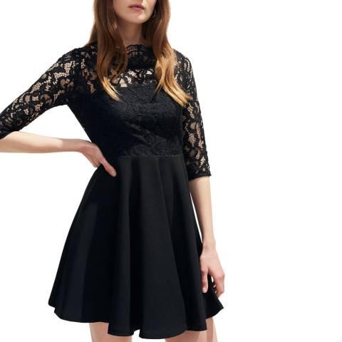 Claudie Pierlot Black Lace Detail Skater Dress