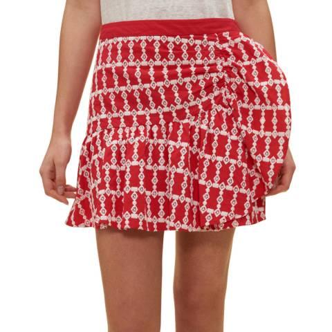 Claudie Pierlot Red Printed Frill Skirt