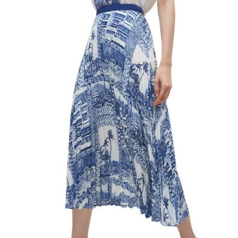 Claudie Pierlot Blue Multi Print Pleated Skirt
