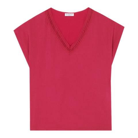 Claudie Pierlot Magenta V Neck T-Shirt