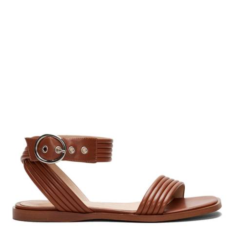 Claudie Pierlot Tan Abaccae Leather Flat Sandals
