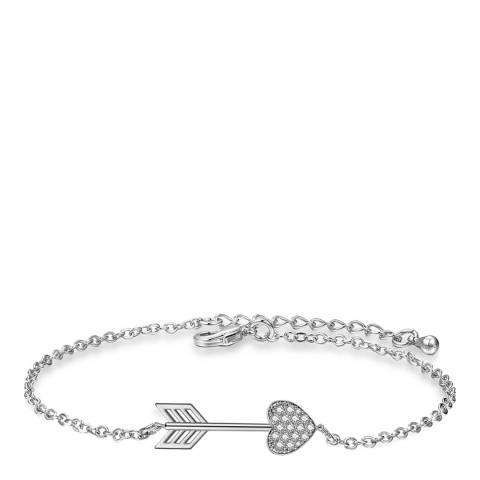 Ma Petite Amie White Gold Plated Heart Arrow Bracelet with Swarovski Crystals