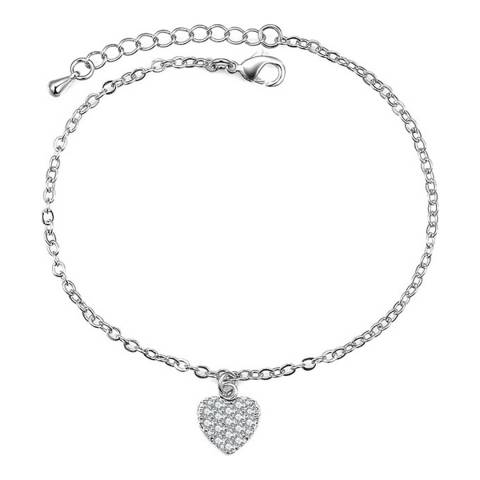 Ma Petite Amie White Gold Plated Heart Bracelet with Swarovski Crystals