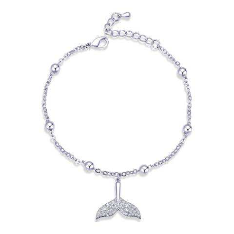 Ma Petite Amie White Gold Plated Mermaid Tail Bracelet with Swarovski Crystals