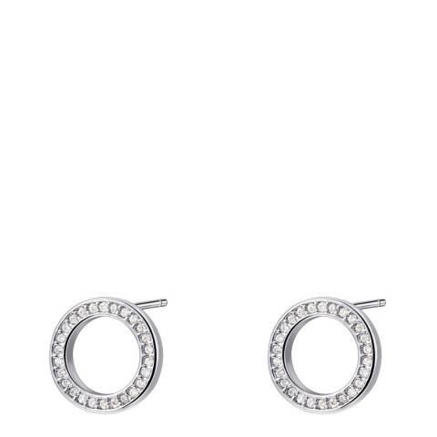 Ma Petite Amie White Gold Plated Circle Earrings with Swarovski Crystals
