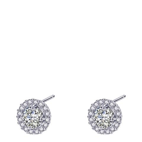 Ma Petite Amie White Gold Plated Stud Earrings with Swarovski Crystals