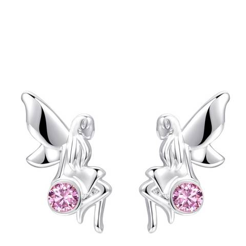 Ma Petite Amie White Gold Plated Angel Earrings with Swarovski Crystals