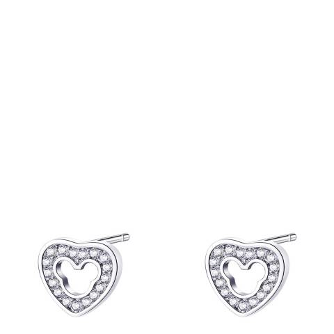 Ma Petite Amie White Gold Plated Heart Earrings with Swarovski Crystals