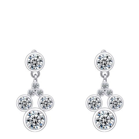 Ma Petite Amie White Gold Plated Mickey Mouse Earrings with Swarovski Crystals