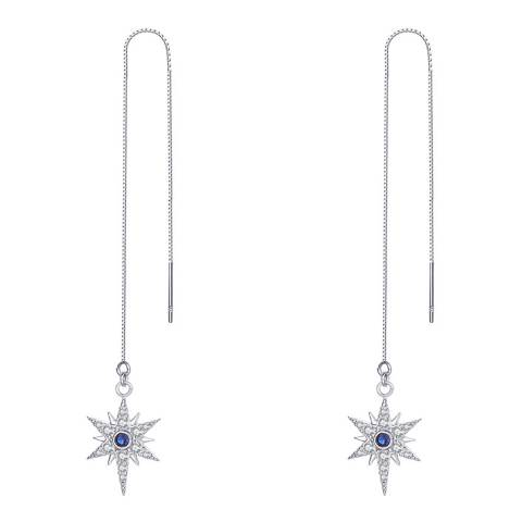 Ma Petite Amie White Gold Plated Star Earrings with Swarovski Crystals