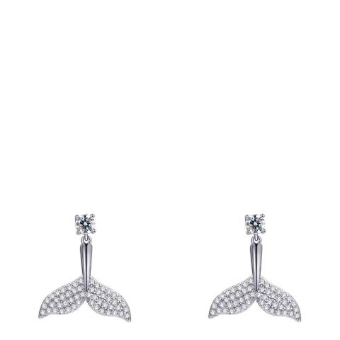 Ma Petite Amie White Gold Plated Mermaid Tail Earrings with Swarovski Crystals