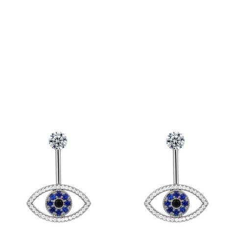 Ma Petite Amie White Gold Plated Eye Earrings with Swarovski Crystals