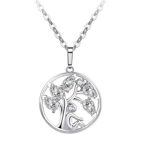 Ma Petite Amie White Gold Plated Tree Necklace with Swarovski Crystals