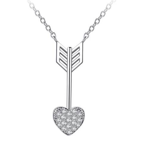 Ma Petite Amie White Gold Plated Heart Arrow Necklace with Swarovski Crystals