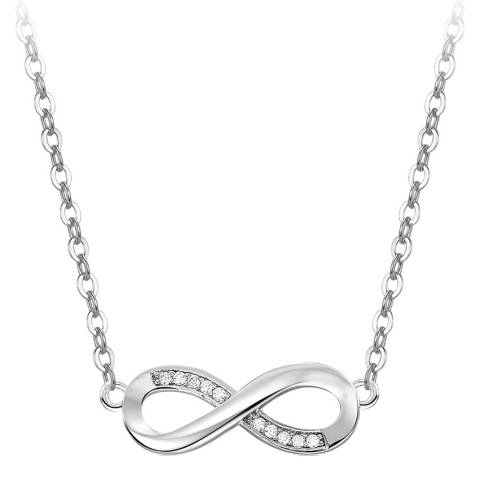 Ma Petite Amie White Gold Plated Infinity Necklace with Swarovski Crystals