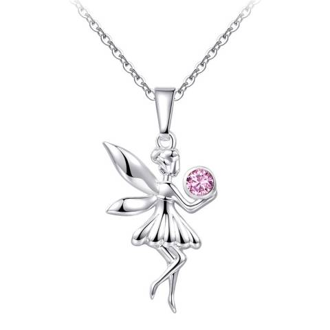 Ma Petite Amie White Gold Plated Fairy Necklace with Swarovski Crystals