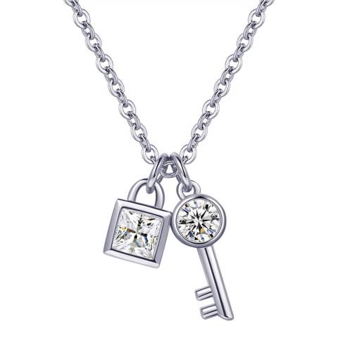 Ma Petite Amie White Gold Plated Key Necklace with Swarovski Crystals