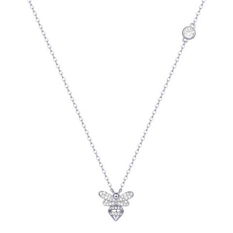 Ma Petite Amie White Gold Plated Bumble Bee Necklace with Swarovski Crystals