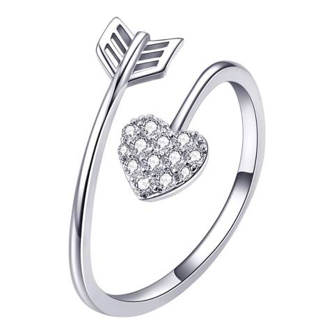 Ma Petite Amie White Gold Plated Heart Arrow Ring with Swarovski Crystals