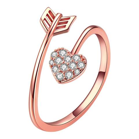 Ma Petite Amie Rose Gold Plated Heart Arrow Ring with Swarovski Crystals