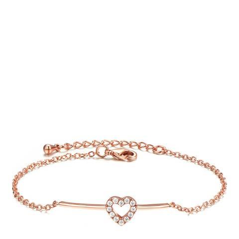 Ma Petite Amie Rose Gold Plated Heart Bracelet with Swarovski Crystals