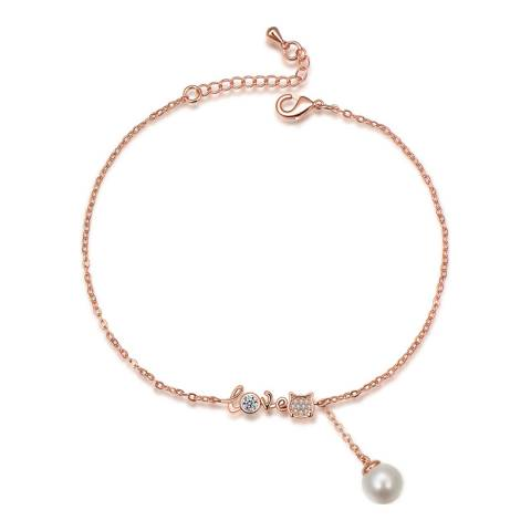 Ma Petite Amie Rose Gold Plated Pearl Bracelet with Swarovski Crystals
