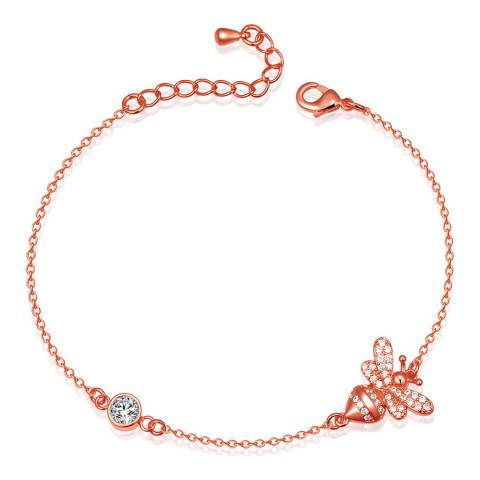 Ma Petite Amie Rose Gold Plated Bumble Bee Bracelet with Swarovski Crystals