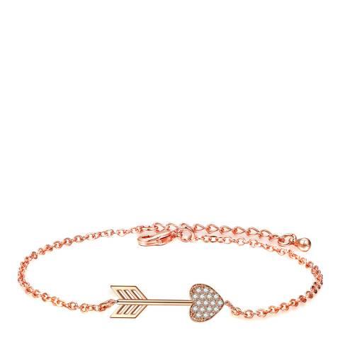 Ma Petite Amie Rose Gold Plated Heart Arrow Bracelet with Swarovski Crystals