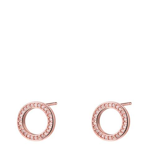 Ma Petite Amie Rose Gold Plated Circle Earrings with Swarovski Crystals