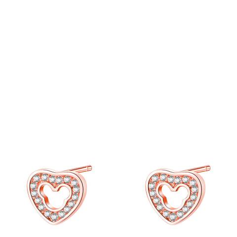 Ma Petite Amie Rose Gold Plated Heart Earrings with Swarovski Crystals