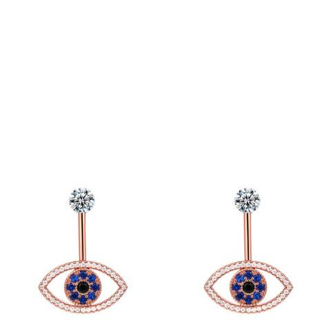 Ma Petite Amie Rose Gold Plated Eye Earrings with Swarovski Crystals