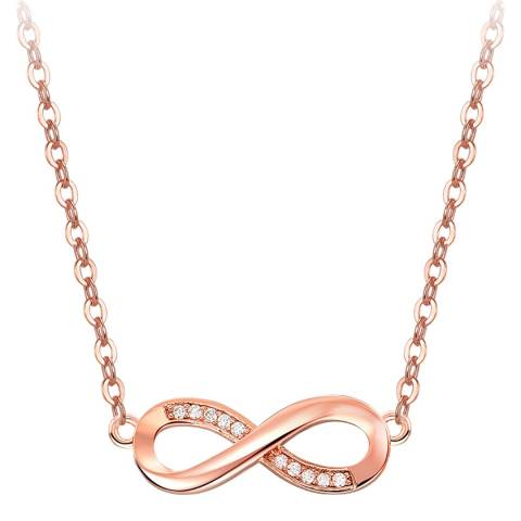 Ma Petite Amie Rose Gold Plated Infinity Necklace with Swarovski Crystals