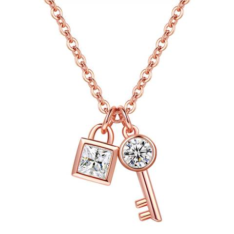 Ma Petite Amie Rose Gold Plated Lock and Key Necklace with Swarovski Crystals