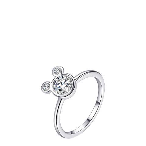 Ma Petite Amie White Gold Plated Mickey Mouse Ring with Swarovski Crystals