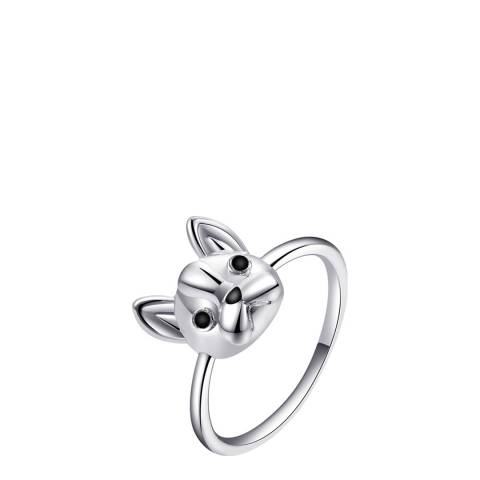 Ma Petite Amie White Gold Plated Cat Ring with Swarovski Crystals