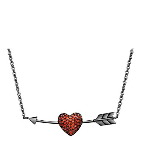 Ma Petite Amie Black Plated Heart Necklace with Swarovski Crystals