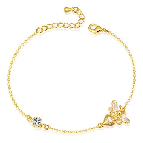 Ma Petite Amie Gold Plated Bee Bracelet with Swarovski Crystals