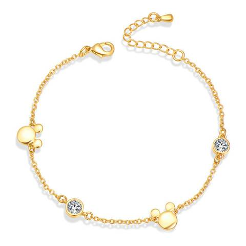 Ma Petite Amie Gold Plated Mickey Mouse Bracelet with Swarovski Crystals