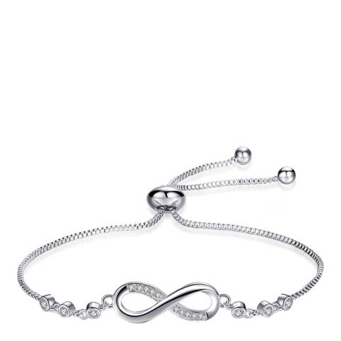 Ma Petite Amie White Gold Plated Infinity Bracelet with Swarovski Crystals