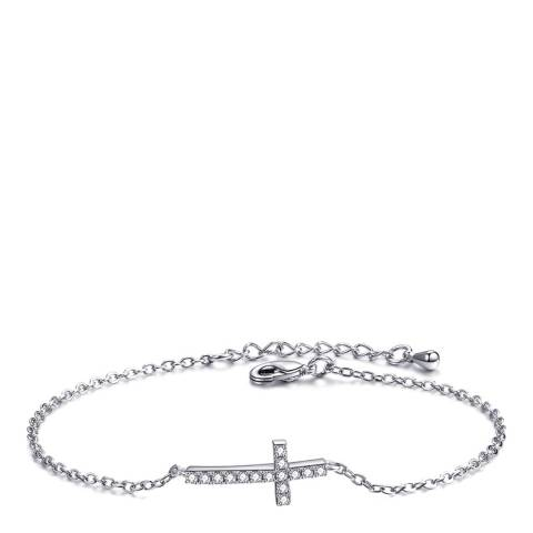Ma Petite Amie White Gold Plated Cross Bracelet with Swarovski Crystals