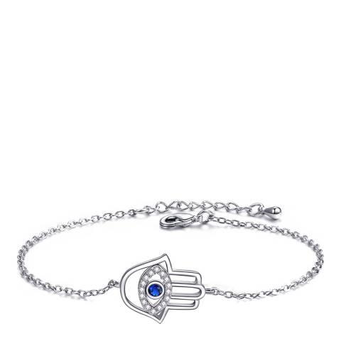 Ma Petite Amie White Gold Plated Palm Bracelet with Swarovski Crystals