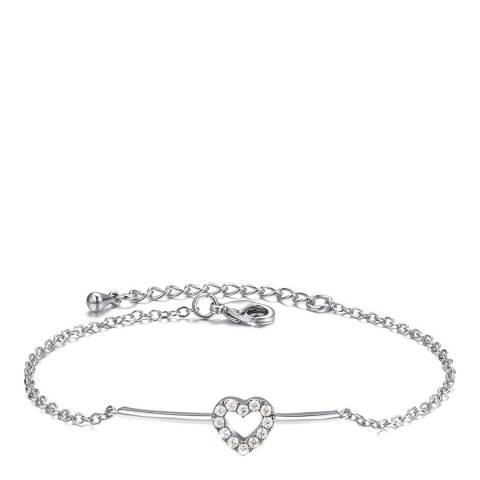 Ma Petite Amie White Gold Plated Heart Bracelet with Swarovski Crystals