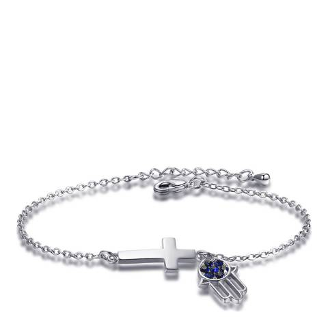 Ma Petite Amie White Gold Plated Palm and Cross Bracelet with Swarovski Crystals