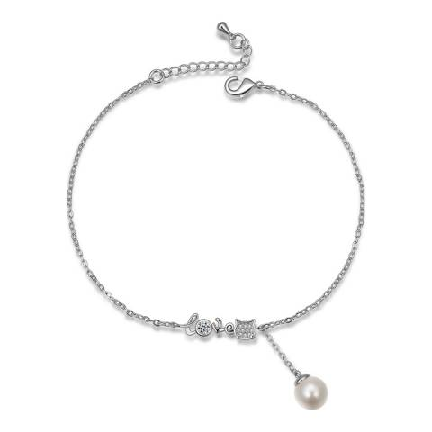 Ma Petite Amie White Gold Plated Pearl Bracelet with Swarovski Crystals