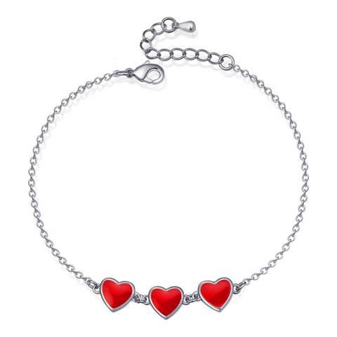 Ma Petite Amie White Gold Plated Hearts Bracelet with Swarovski Crystals