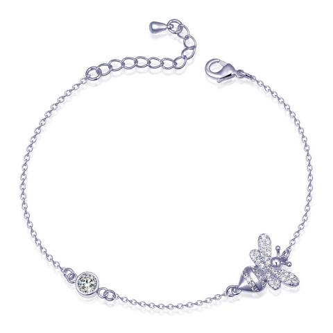 Ma Petite Amie White Gold Plated Bumble Bee Bracelet with Swarovski Crystals