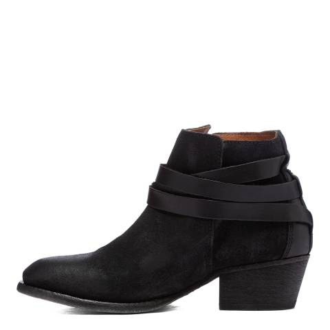 H by Hudson Black Leather Horrigan Ankle Boots Heel 4cm