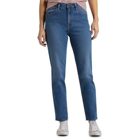 Lee Jeans Mid Blue Carol Straight Leg Cotton Jeans