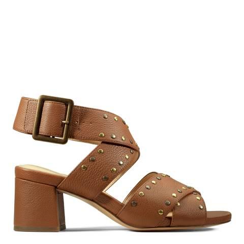 Clarks Tan Leather Studded Buckle Sandal