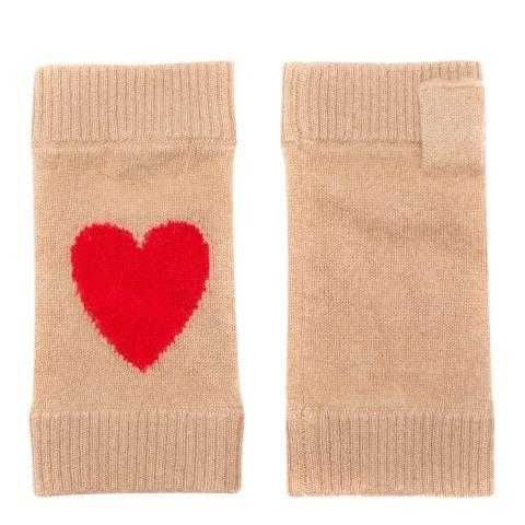 Laycuna London Beige/Red Heart Cashmere Wrist Warmers